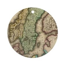 Vintage Map of Norway and Sweden (1 Round Ornament