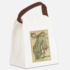 Vintage Map of Norway and Sweden  Canvas Lunch Bag