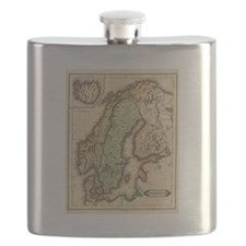 Vintage Map of Norway and Sweden (1831) Flask