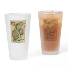Vintage Map of Norway and Sweden (1 Drinking Glass