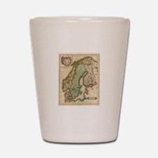 Vintage Map of Norway and Sweden (1831) Shot Glass