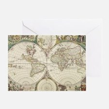 Vintage Map of The World (1680) Greeting Card