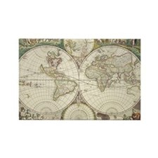 Vintage Map of The World (1680) Rectangle Magnet