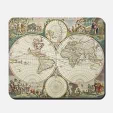 Vintage Map of The World (1680) Mousepad