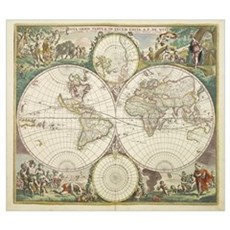 Vintage Map of The World (1680) Framed Print