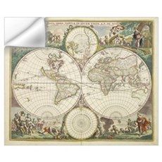 Vintage Map of The World (1680) Wall Decal