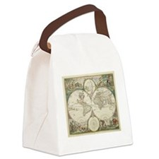 Vintage Map of The World (1680) Canvas Lunch Bag