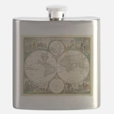 Vintage Map of The World (1680) Flask