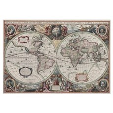 Vintage Map of The World (1630) Poster