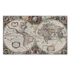 Vintage Map of The World (1630 Decal