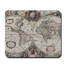 Vintage Map of The World (1630) Mousepad