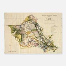 Vintage Map of Oahu Hawaii (1906) 5'x7'Area Rug