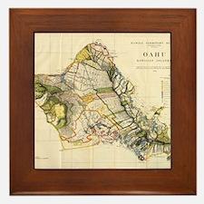 Vintage Map of Oahu Hawaii (1906) Framed Tile