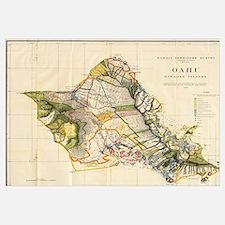 Vintage Map of Oahu Hawaii (1906)