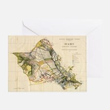 Vintage Map of Oahu Hawaii (1906) Greeting Card
