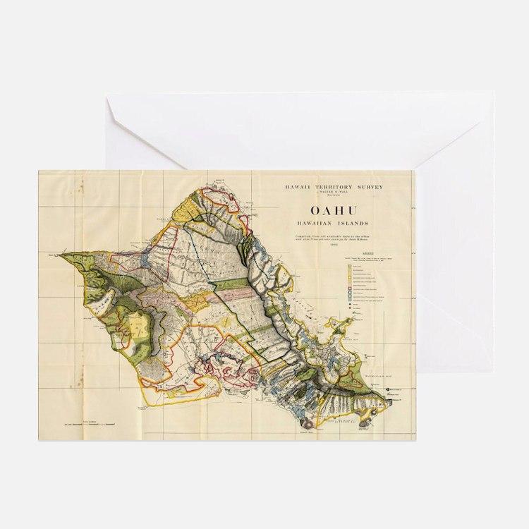 Vintage Map of Oahu Hawaii (1906) Greeting Card