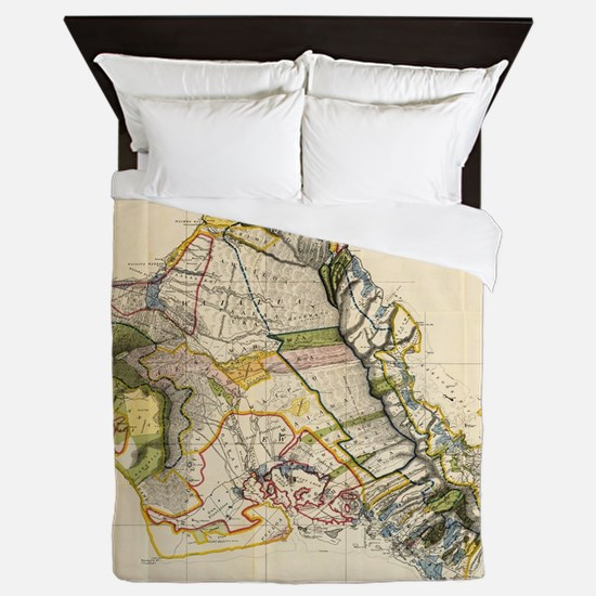 Vintage Map of Oahu Hawaii (1906) Queen Duvet