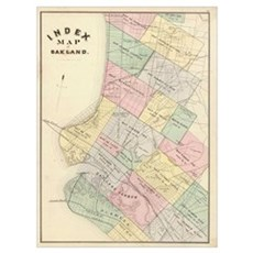 Vintage Map of Oakland California (1878) Canvas Art