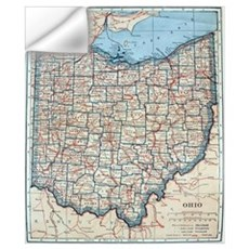 Vintage Map of Ohio (1921)  Wall Decal
