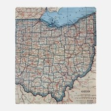 Vintage Map of Ohio (1921)  Throw Blanket