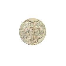 Vintage Map of Ohio (1866) Mini Button