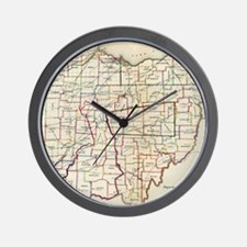 Vintage Map of Ohio (1866) Wall Clock