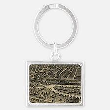Vintage Pictorial Map of Dallas Landscape Keychain