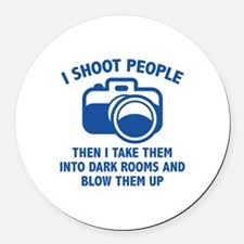 I Shoot People Round Car Magnet