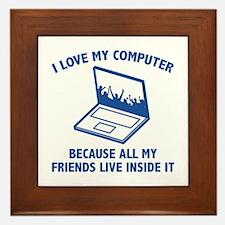I Love My Computer Framed Tile
