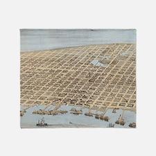 Vintage Pictorial Map of Galveston ( Throw Blanket