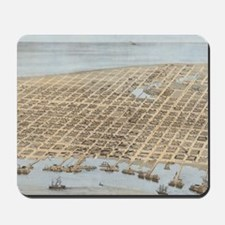 Vintage Pictorial Map of Galveston (1871 Mousepad