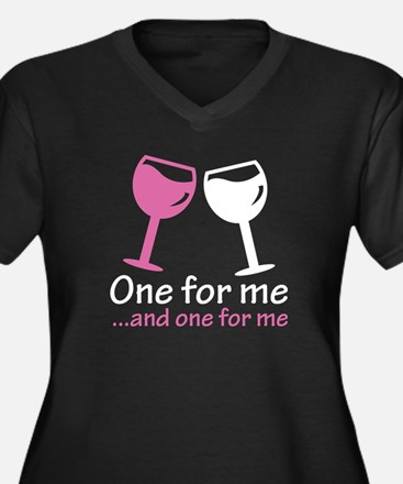 One For Me Women's Plus Size V-Neck Dark T-Shirt