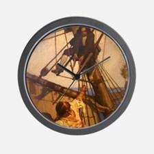 One more step Mr. Hands - N.C. Wyeth pa Wall Clock