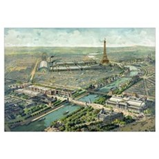 Vintage Pictorial Map of Paris (1900) Canvas Art