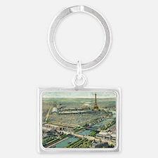 Vintage Pictorial Map of Paris  Landscape Keychain