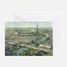 Vintage Pictorial Map of Paris (1900 Greeting Card