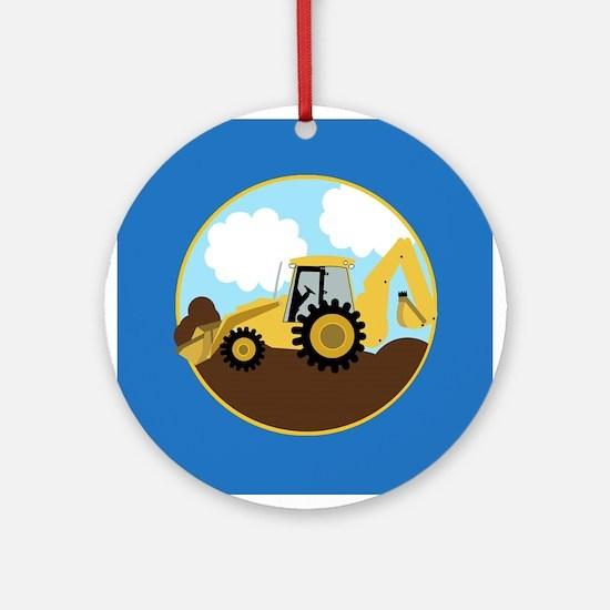 Backhoe Construction Digger Ornament (Round)