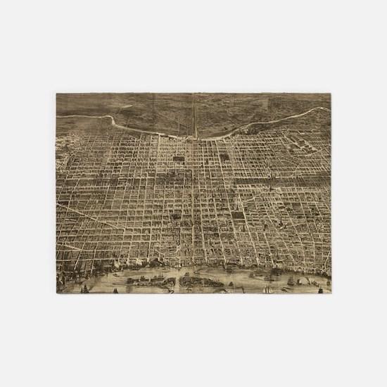 Vintage Pictorial Map of Philadelph 5'x7'Area Rug