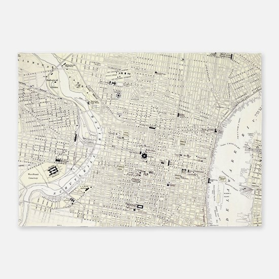 Vintage Map of Philadelphia (1885) 5'x7'Area Rug