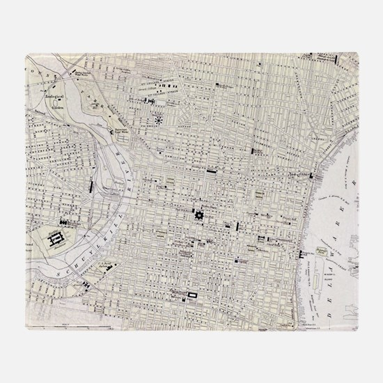 Vintage Map of Philadelphia (1885) Throw Blanket