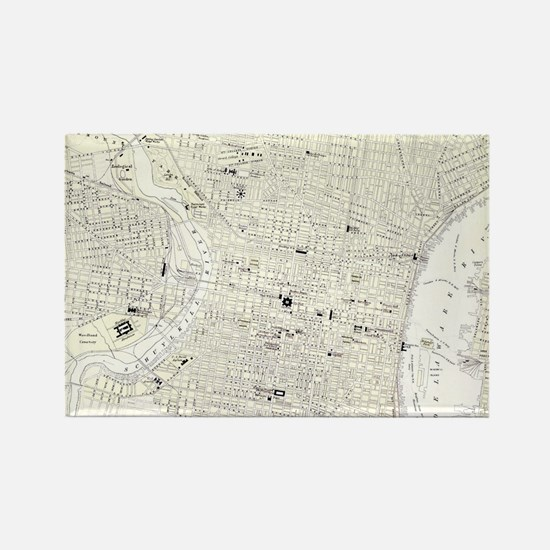 Vintage Map of Philadelphia (1885 Rectangle Magnet