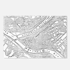 Vintage Map of Pittsburgh Postcards (Package of 8)