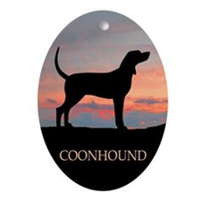 Bluetick Coonhound Sunset Oval Ornament