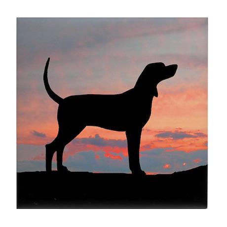 Bluetick Coonhound Sunset Tile Coaster