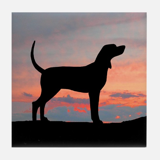 Bluetick Coonhound Sunset Tile Coaster