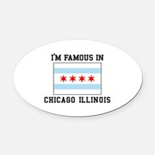 Famous Chicago, Illinois Oval Car Magnet