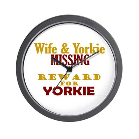 Wife & Yorkie Missing Wall Clock