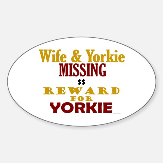 Wife & Yorkie Missing Oval Decal