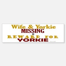 Wife & Yorkie Missing Bumper Car Car Sticker