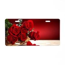 Superb Red Roses Aluminum License Plate